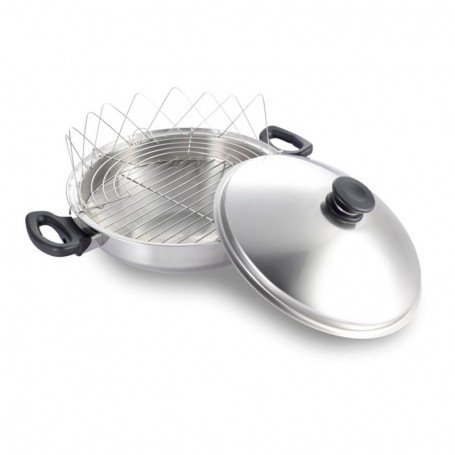 7-ply Stainless Steel Wok with Lid and accessories iCook™
