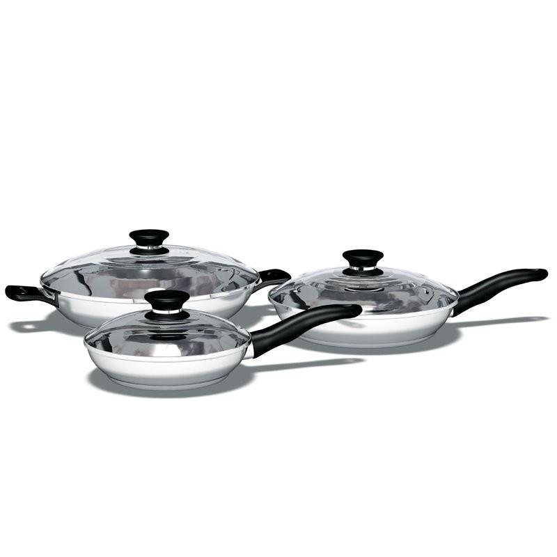 Набор из трех сковородок с крышками iCook™